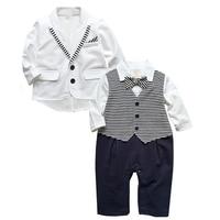 Fashion Comfortable Chidren Coat And Rompers Set Winter Full Boy Rompers Gentleman Clothing Set Romper Suit