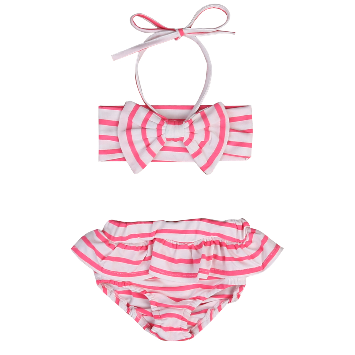 2017 Cute 2-7Y Kids Baby Girls Pink Bikini Suit Set Striped Swimsuit Triangle Belt Bathing Swimming Pool Beachwear Swimwear
