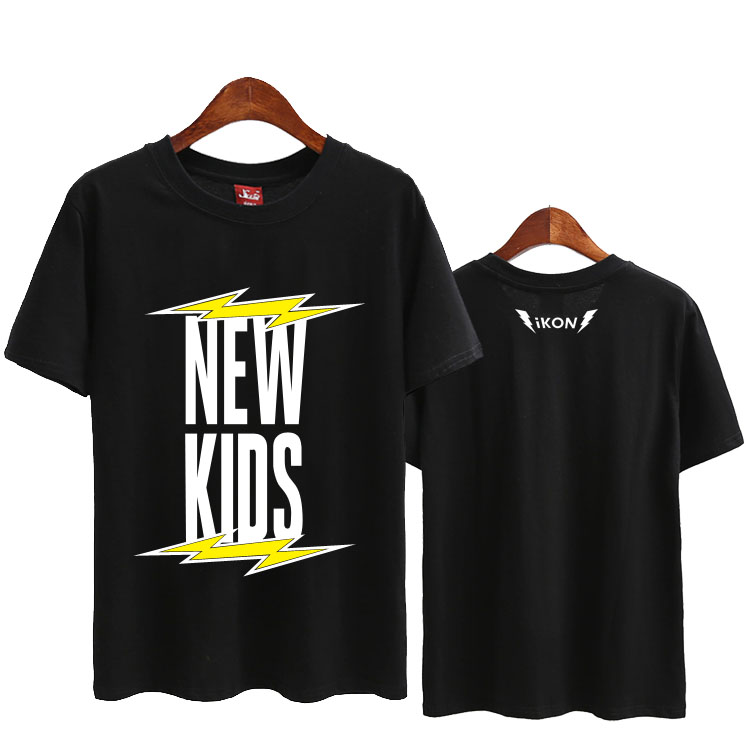 US $12 41 42% OFF|Summer kpop ikon new album new kids lightning printing o  neck t shirt for fans supportive short sleeve unisex t shirt-in T-Shirts