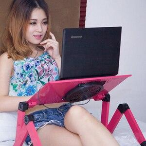Image 5 - Einstellbar Tragbare Laptop Tischständer Runde Sofa Bett Tablett Computer Notebook Schreibtisch bett tisch mit Maus Bord ZW CD05