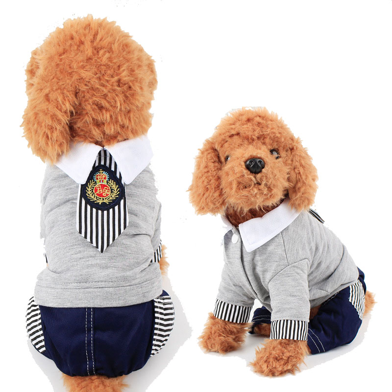 Casual Puppy Dog Clothes Pet Costume for Dogs and Cats Fashion Gray Dog T Shirt Suit Jumpsuit Doggy Apparel High Quality S - XXL