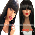 Fast Shipping Straight Wigs For Black Women Heat Resistant Smooth Straight Synthetic Wigs With Bangs Color #1b In Stock