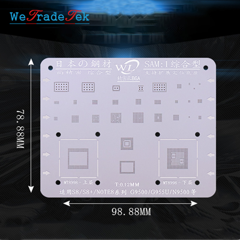 WL For Samsung S6 S6+ S8 S8+ S7 S9 S9+ Note C7 J3 J5 A5  0.12mm Thickness BGA Reballing Stencil Kit Tin Mesh Solder Template
