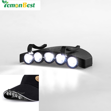 Outdoor Travel Night Safe and Convenient Headlamps Clip-On 5-LED Head Lights Hands-free Cap Hat Clip Lamp Flash / Steady ON
