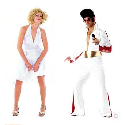Костюмы для косплея костюм на Хэллоуин Одежда для вечеринки певица белый Костюмы взрослых Элвис Пресли Костюмы Мэрилин Монро Cos платье