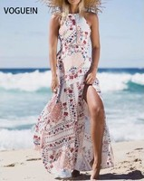 VOGUE N New Womens Sexy Beach Floral Print Hollow Halter Bow Tie Back White Maxi Dress