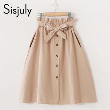 Sisjuly Vintage Fresh Simple Skirt Women Pleated High Waist Belt Button Girl Casual Black Solid Sweet A Line Short Skirts 2019 sisjuly black 38