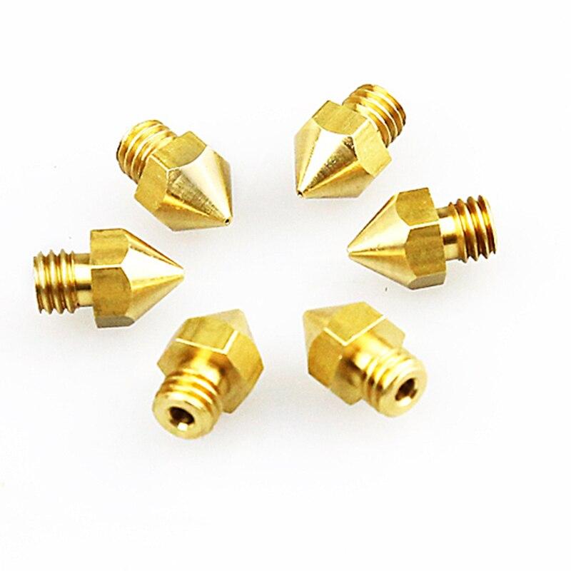 Anet 3D Printer Nozzles 5pcs 0.2/0.3/0.4/0.5mm Optional Copper Nozzle 1.75mm M6 For A6 A8 E10 E12 MK8 Extruder 3d Printers Parts