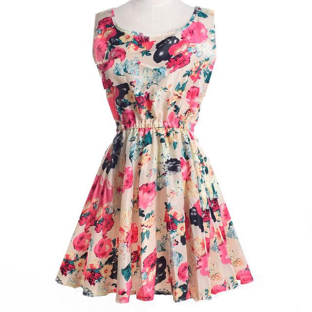 Women's Chiffon O-Neck Sleeveless Floral Printed Dress
