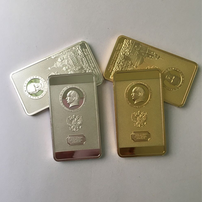 Doeltreffend 4 Stks De Poetin Coin President Van Rusland Badge Poetin Moskou Kremlin Zilver 24 K Real Vergulde Russische Souvenir Bar Coin Mooie Glans
