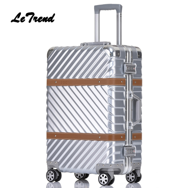 bd70427078 Letrend Spinner Rolling Luggage 24 inch Travel Duffle Women Trolley Solid  Carry On Suitcases Wheel Aluminium Frame Handbag Trunk
