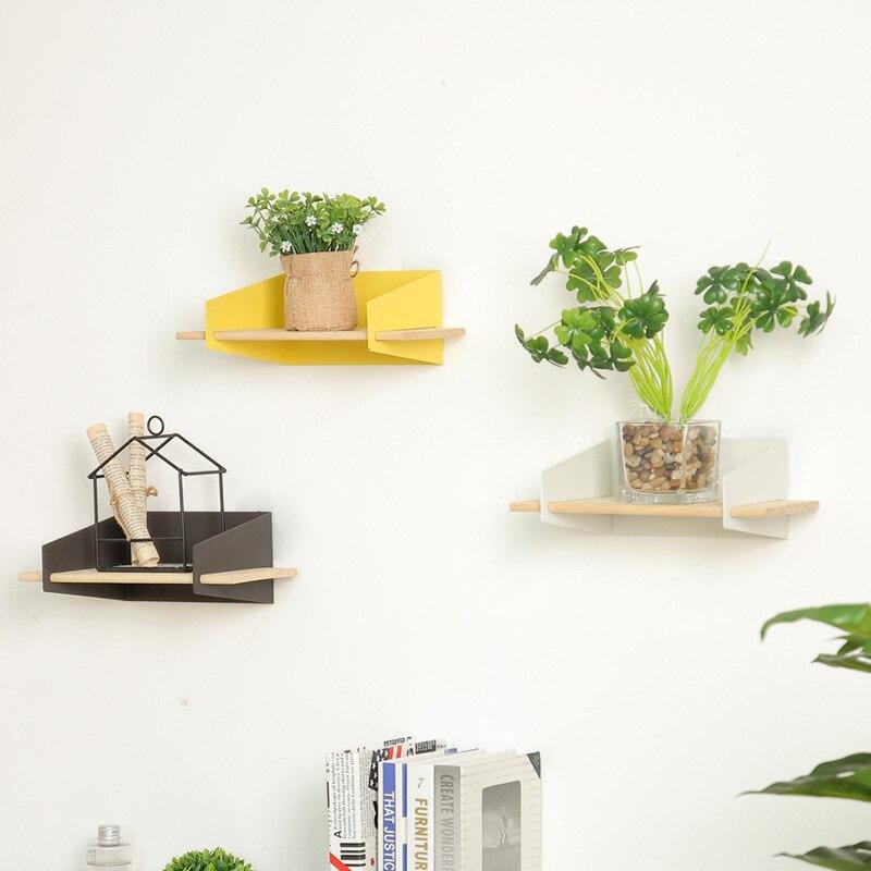 Maison bois fer mur stockage Rack mur support suspendus Gadgets support étagères moderne en métal maison chambre décoration cintre étagère
