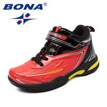BONA החדש סגנון ילדי נעליים יומיומיות תחרה עד בנות נעלי סינטטי בני דירות חיצוני אופנה סניקרס נוח משלוח חינם