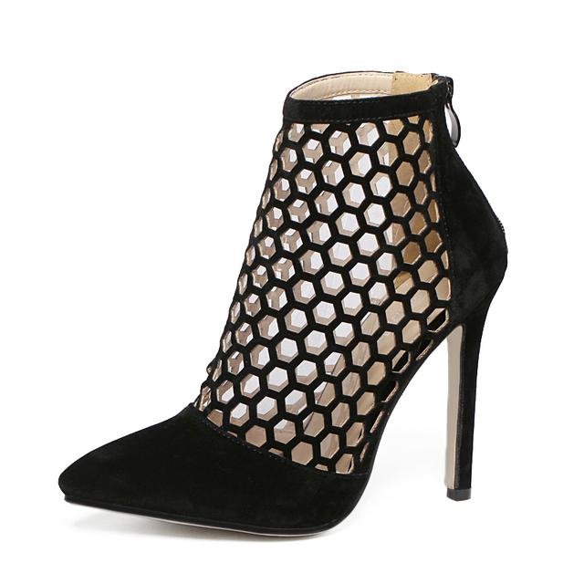 2017 zapatos de Tacón Alto Botas de Verano de Tacón de Aguja Punta estrecha Mujeres Bombas recortes Zapatos de Gladiador de Las Mujeres Zapatos de Mujer