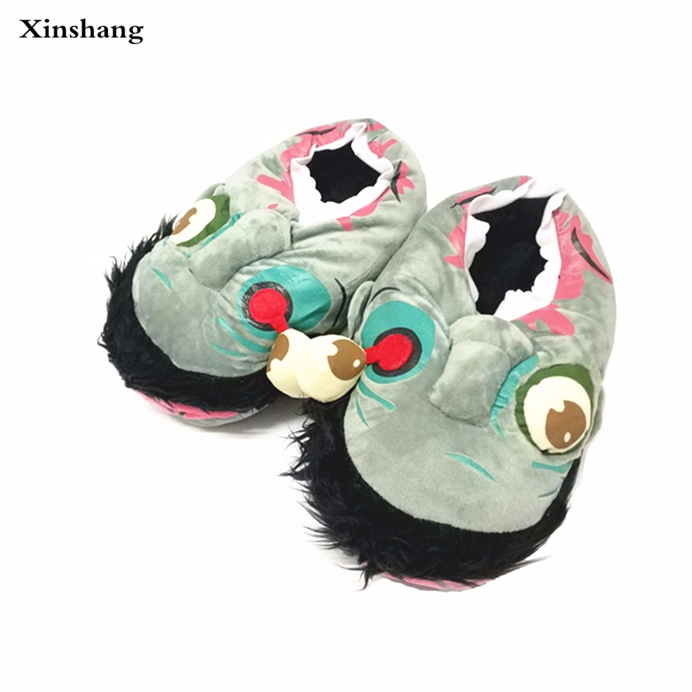Unisex Zombie Slippers For Winter Warm Indoor Floor House&Home Women and Men Walking Dead 3D Shoes Fit Halloween Cosplay pantufa unisex skullies knit men s winter balaclava bonnet women thicken winter hats for men beanie warm baggy knitted hat and scarf