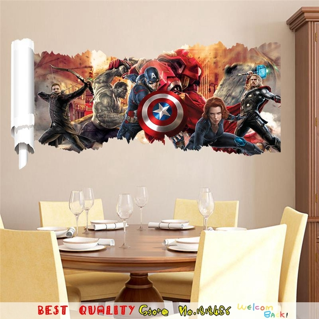 Bon Hot Sale Thor Hulk Captain America Wall Stickers Superhero Designs Wall  Decal Marvel Wall Art Large