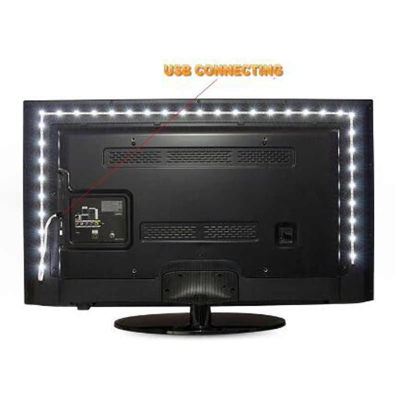 Strip 5 V 50 CM 1 M 2 M 3 M 4 M 5 M Usb-kabel Power LED strip lamp SMD 3528 Kerst bureau Decor lamp tape TV Achtergrond verlichting