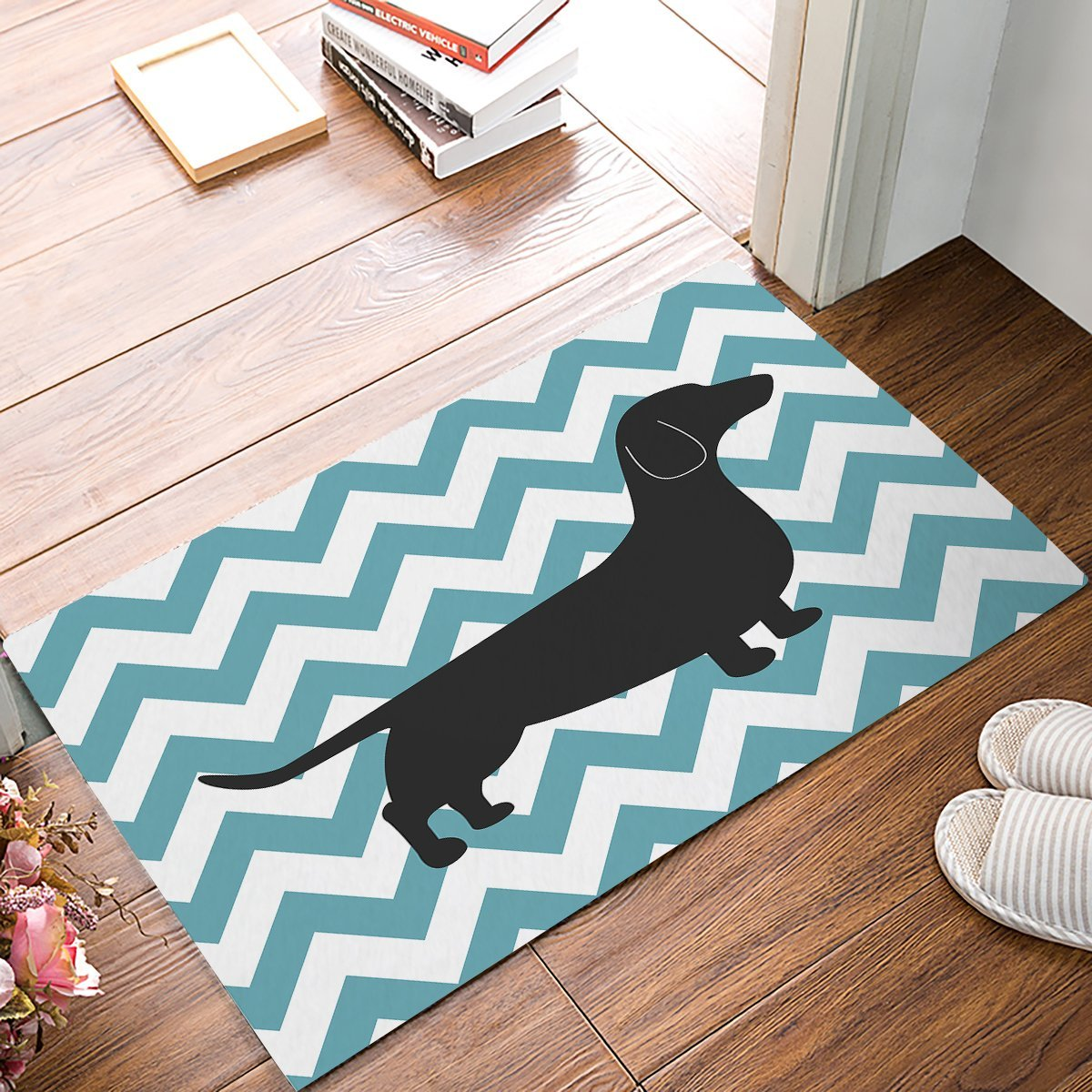 White Kitchen Floor Mats: Aliexpress.com : Buy Blue And White Chevron Dachshund Door