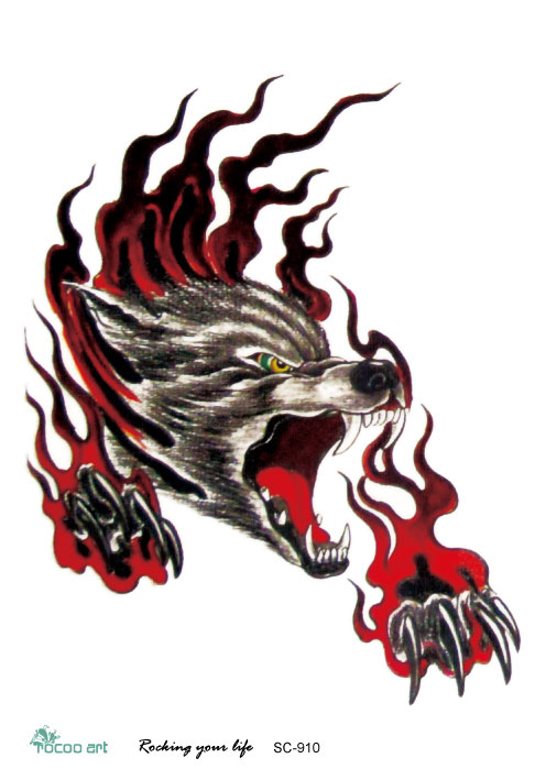 Sc2910 Large 3d Sketch Horrible Flame Howl Wolf Head Designs Cool Chest Body Art Temporary Tattoo