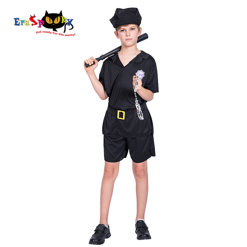 Eraspooky Black Boys Policeman Cosplay Halloween costume Kids Cops Officer Uniform Children Carnival Party Fancy Dress Hat
