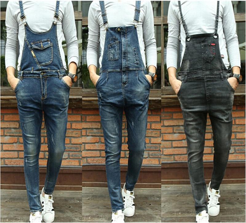 Fashion Bib Denim Overalls For Men 2015 New Long Solid Black Slim Cowboy Overall Cotton Skinny