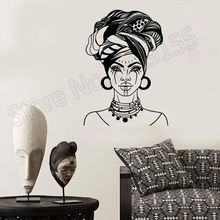 African Woman Head Turban Native Fashion Face Tattoos Wall Stickers Beautiful Girl Salon Decals Vinyl Decal Interior ZW358