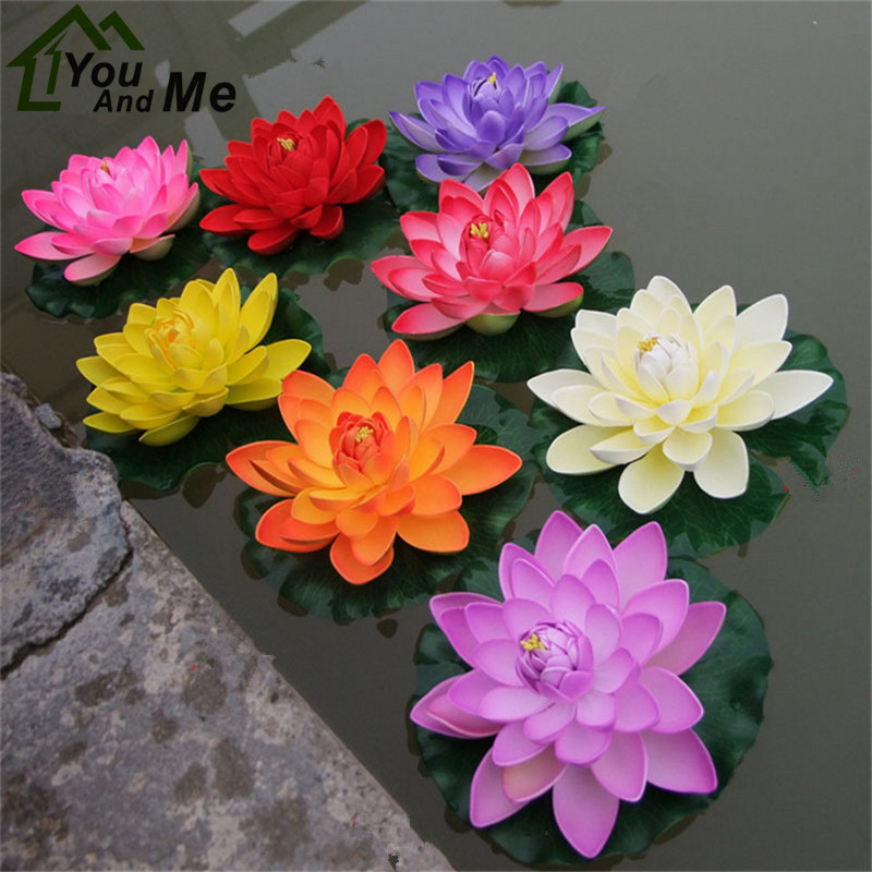 1Pc 18cm/28cm Large Artificial EVA Lotus Flower Water Lily Water Fish Tank Decoration Props Wedding Garden Decoration ...