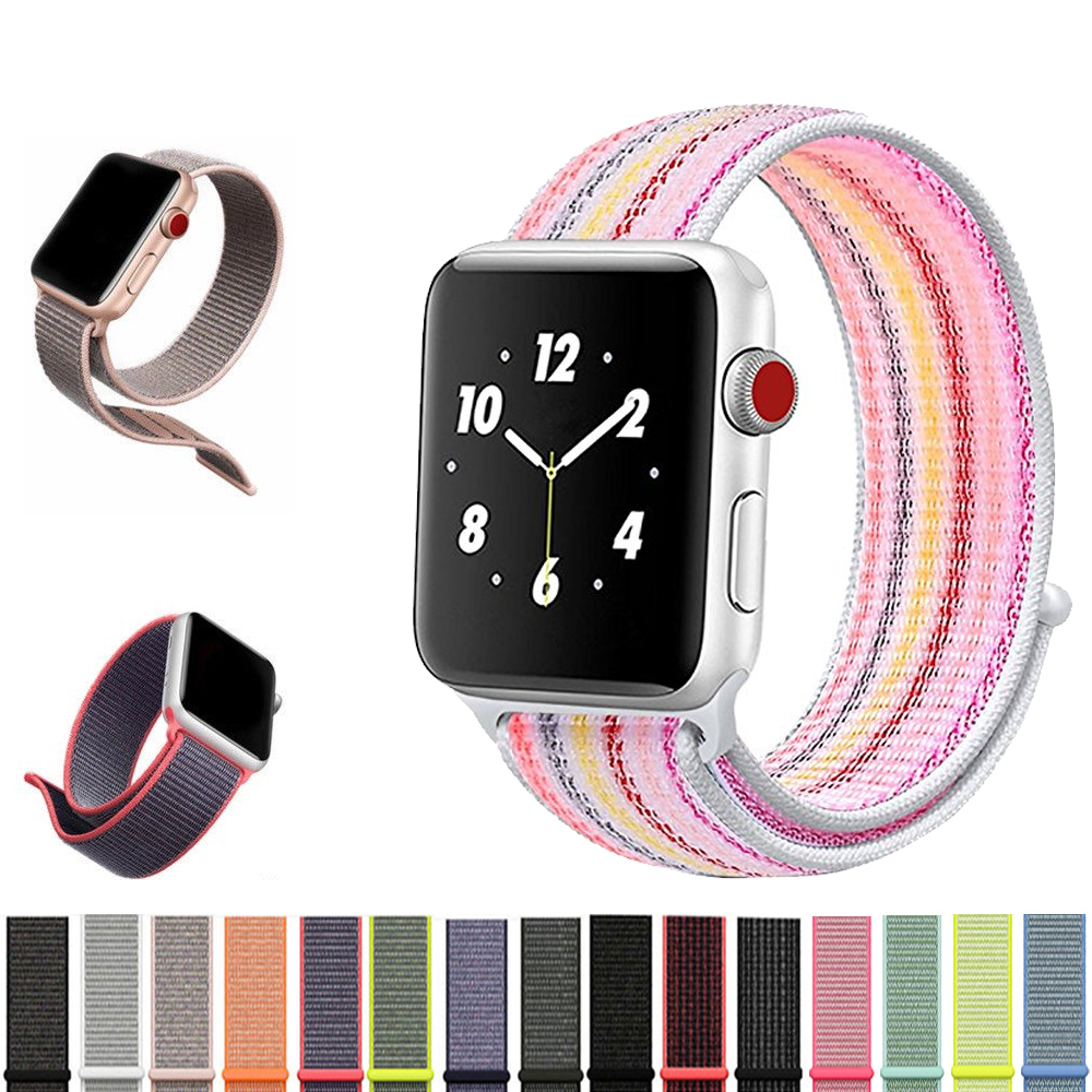 Sport Nylon Loop band Strap for Apple Watch Band 42mm 38mm iwatch 3/2/1 Straps Replacement Wristband Bracelet Watchbands Belt javrick silicone wristband bracelet band replacement for garmin vivoactive acetate watch sports watch watchbands accessories
