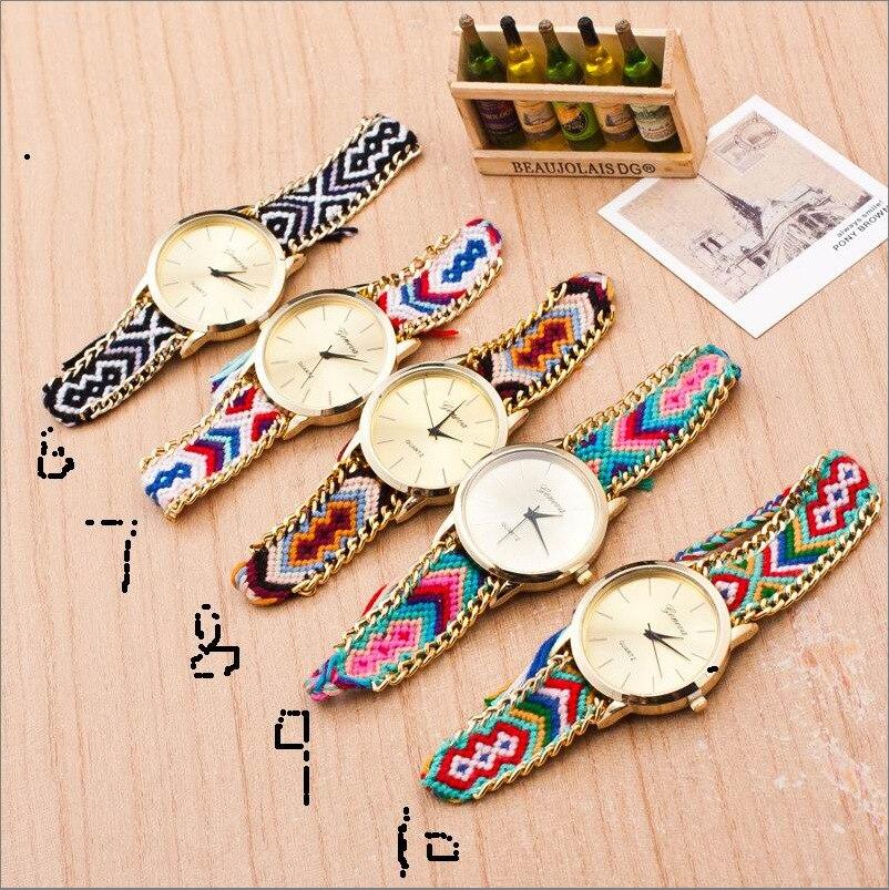 Новые модные женские плетеные наручные часы с веревочным браслетом женские богемные кварцевые часы нарядные часы 100 шт/лот