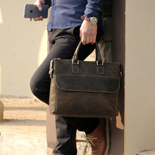 Men Real Genuine Leather Briefcase 14 Inch Laptop Briefcase Luxury Vintage Travel Tote Casual Male Messenger Shouder Bag 8045