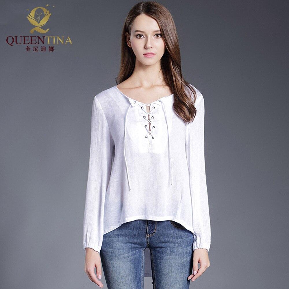 Women Fashion White Blouse Shirt Female Linen V Neck Long