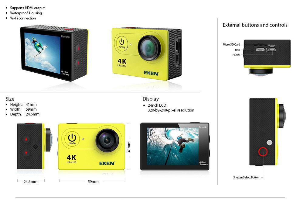camera Eken H9R / H9 Ultra HD 4K Action Camera HTB16ObYqYsTMeJjSszgq6ycpFXar