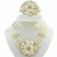 Бусы ожерелье Ювелирные наборы Африканский большой набор украшений белый цвет набор бижутерии с розой Женское Ожерелье Жемчужное ювелирное изделие набор