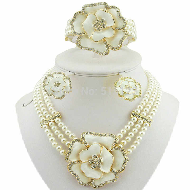bead necklace jewelry sets african big jewelry set white colour rose jewelry set women necklace pearl jewelry set