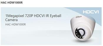 Dahua 1Megapixel 720P HDCVI IR Eyeball Camera HAC-HDW1000R support HD and SD switchable P / N surveillance camera