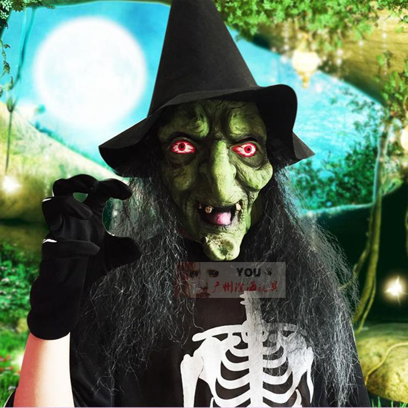 GNHYLL Eye Black Hair Witch Mask Prank Props Scary Halloween House of Terror Mask Horror Cosplay Costume Masquerade Mask