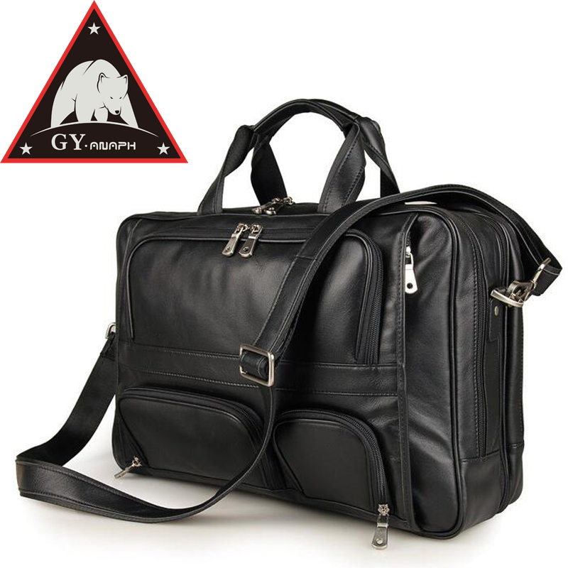ANAPH Brand Top Quality Real Leather Business Briefcases For Men 17'' Laptop Bag Carry On Overnight Bag Large Capacity Black аксессуар чехол 17 0 overboard laptop sleeve large ob1074blk black