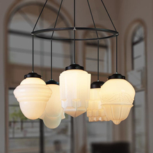 White Glass Pendant Lamp Light Art Deco Vintage Nordic Hotel Restaurant Cafe Dinning Room Modern PARISIAN ECOLE Milk Lighting