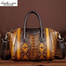 Embossing Genuine Leather Women Messenger Bags Woman Shoulder bag Ladies Tote Designer Zipper Women Leather Handbags