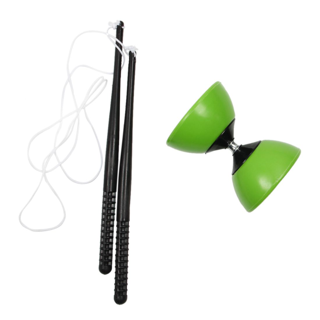FBIL- Plastic Bowl Diabolo Juggling Spinning Chinese Yo Yo Classic Toy with Hand Sticks Green
