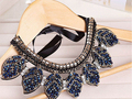 Blue Crystal Leaves Statement Necklace Women Collar Necklaces & Pendants Summer Style Jewelry Colar For Gift Party