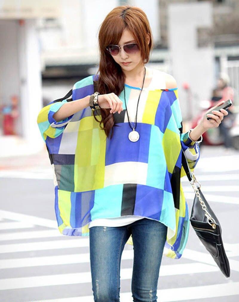 Shirt design girl 2016 - Aliexpress Com Buy Fashion Geomeric Printed Women Sheer Blusas Plus Size Summer Dress 2016 Vogue Design Girls Plus Size Shirts Chiffon Blouses From