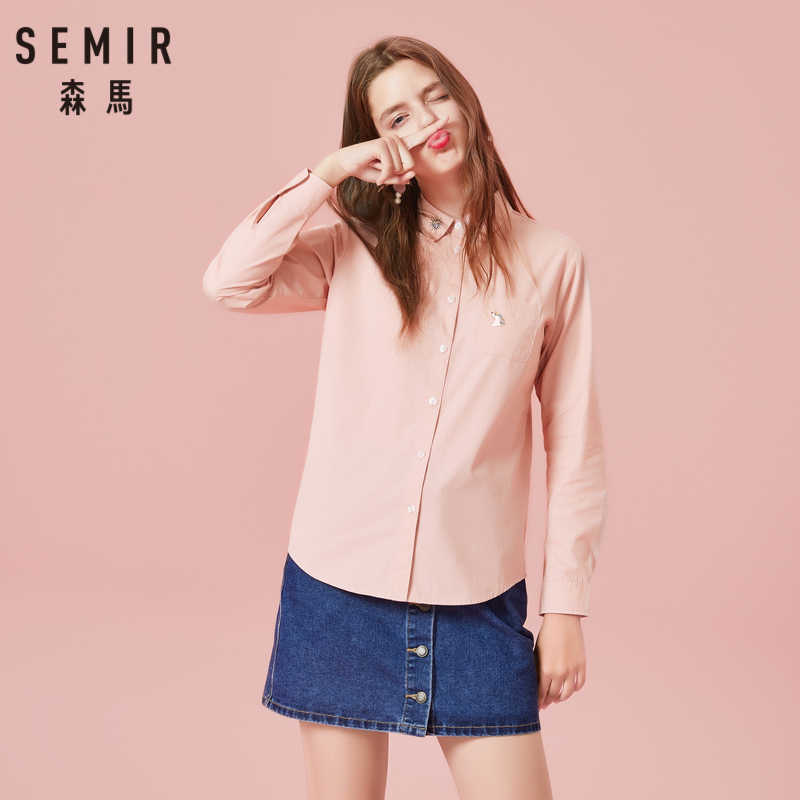 SEMIR Blouse Women 100% Cotton Slim Fit Embroidered Shirt Chest Pocket Women Shirt Top Collar Tapered Waist Button Cuff