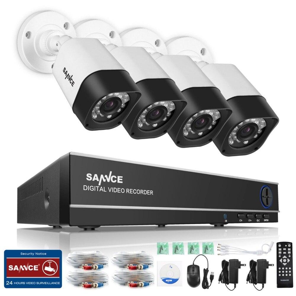 SANNCE 8CH AHD 5 EN 1 Sistema de Seguridad DVR HDMI 1280*720 1200TVL Vigilancia AHD AHD 1.0MP Intemperie Cctv Al Aire Libre Kit