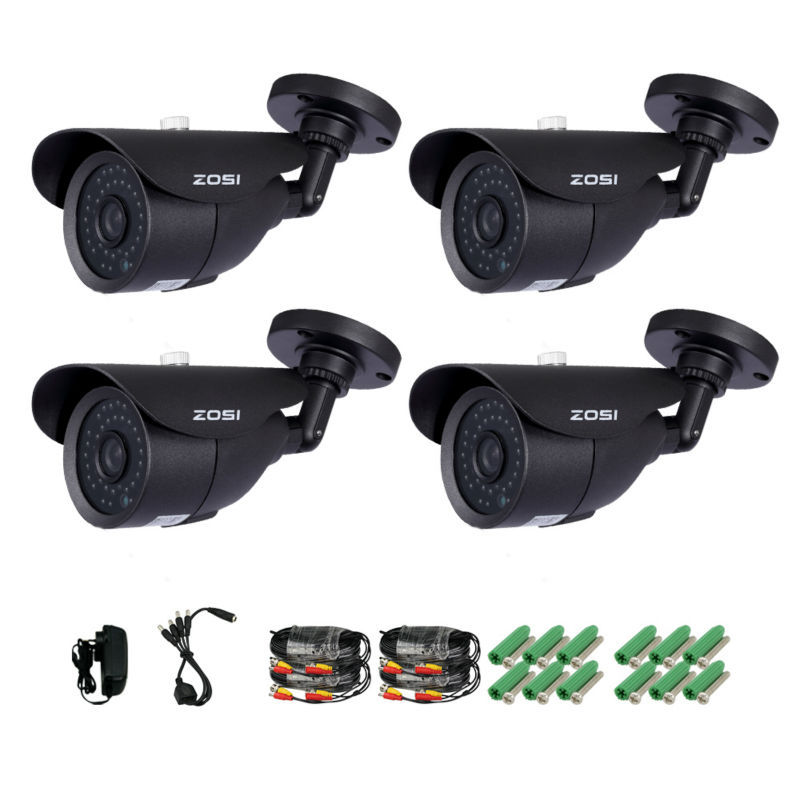 ZOSI 4 Pack 1000TVL 960H indoor outdoor Day Night Vision Weatherproof 42pcs I...