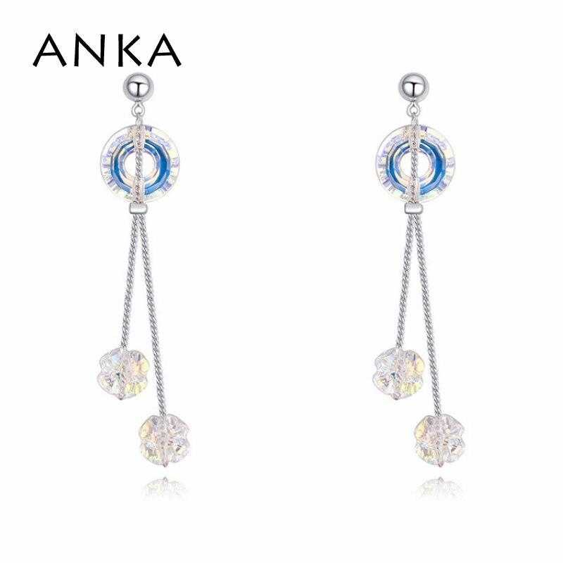 ANKA simple double lines crystal long earrings office lady