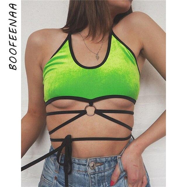 55d4f41f79 BOOFEENAA Velvet Neon Green Sexy Crop Top Streetwear Halter Backless Cami  Tank Tops Summer 2019 Women