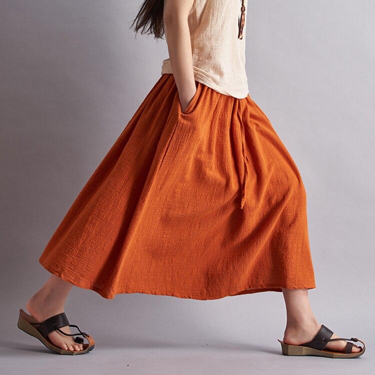 42f63b4ba 2018 Faldas largas de algodón de lino de marca de moda de mujer Faldas Maxi  plisadas de cintura elástica de playa Boho Vintage Faldas de verano ...