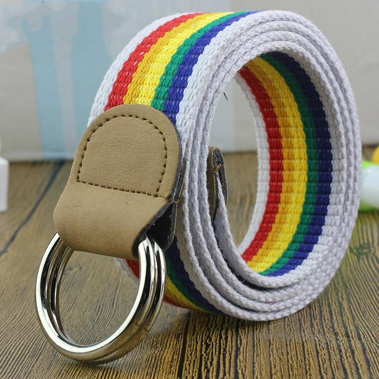 Outdoor Men Women Waist   Belt   Double D Buckle   Belt   Korean Style Male Female Striped Canvas   Belts   Cummerbunds Casual