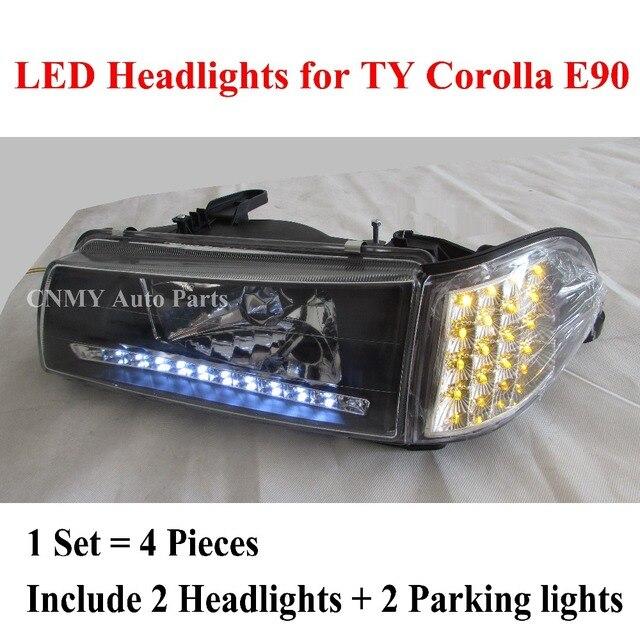 Black Chrome Led Headlights Clear Gl Lens Corner Parking Signal Lamps For Toyota Corolla 1988 94 Ee90 Ae92 E90 Series